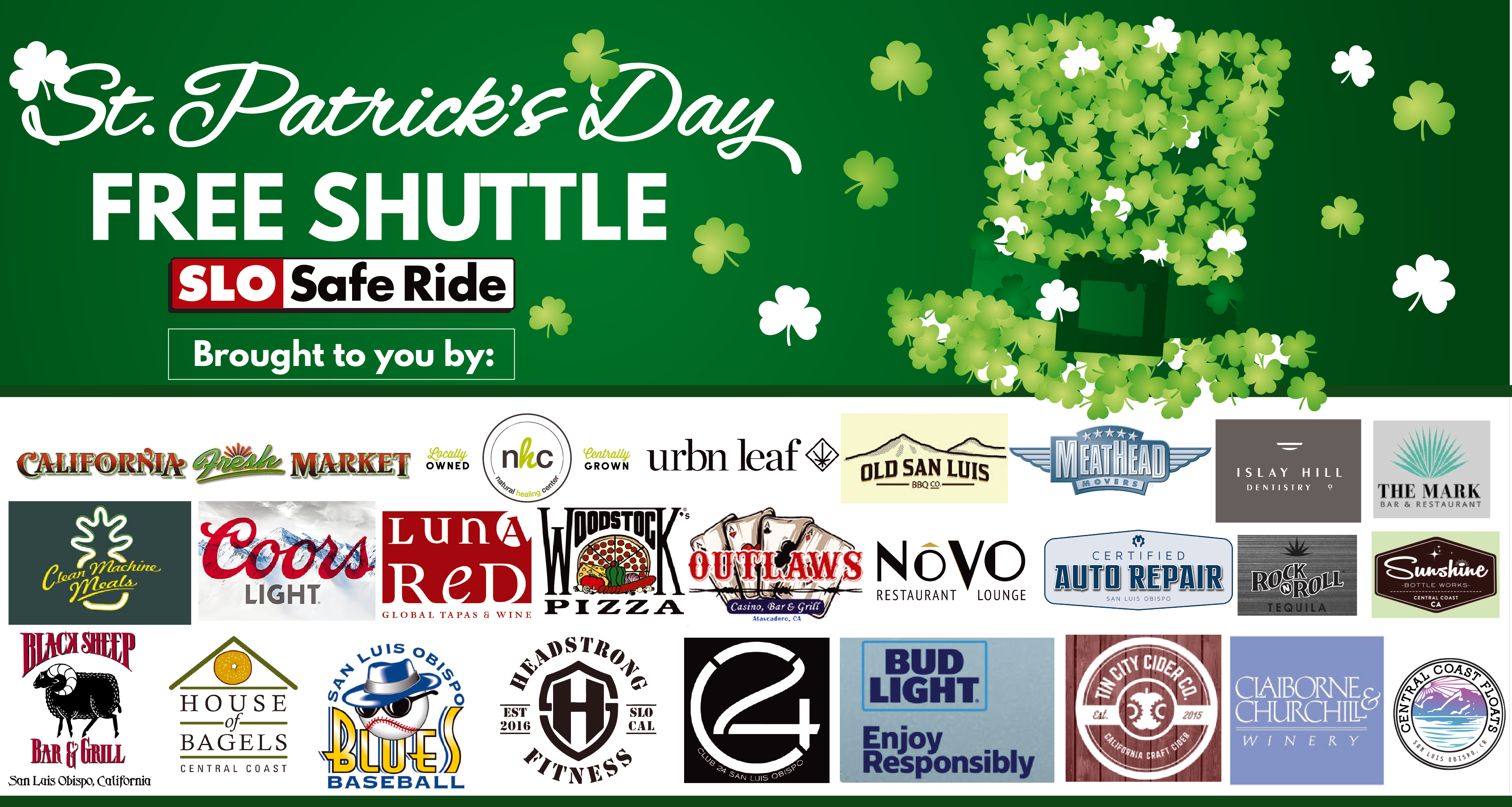 shuttle on st.patricks day in slo sponsors